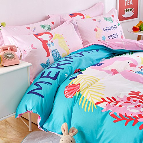 Svetanya Cartoon Mermaid Duvet Cover Set Flat Sheet Bedding Sets