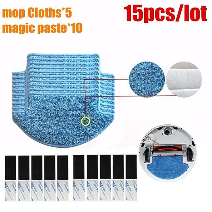 Amazon.com - HBK 15pcs/lot Original Thickness Xiaomi Mi Robot Vacuum Cleaner mop Cloths Parts kit (mop Cloths5+Magic paste10) aspirador -