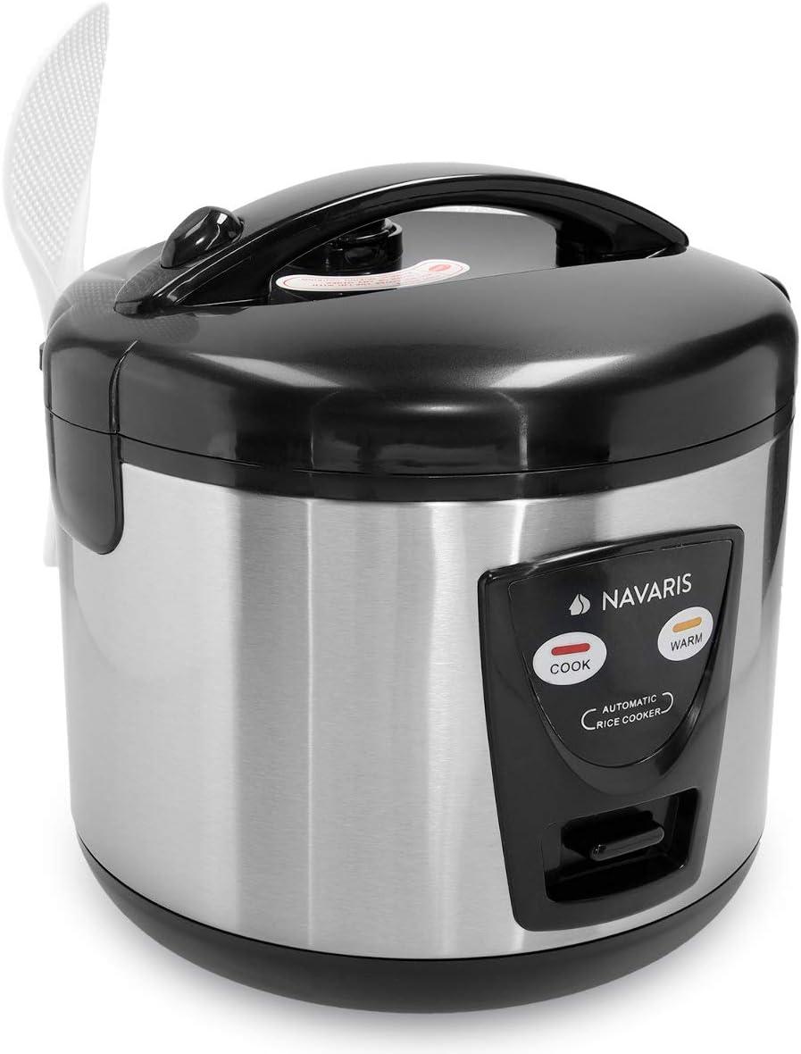 Plateada Navaris Arrocera de 1.2 litros con funci/ón para Mantener Calor con Cuchara Vaso medidor y Cesta para Vapor Hervidor arroz 6 Personas