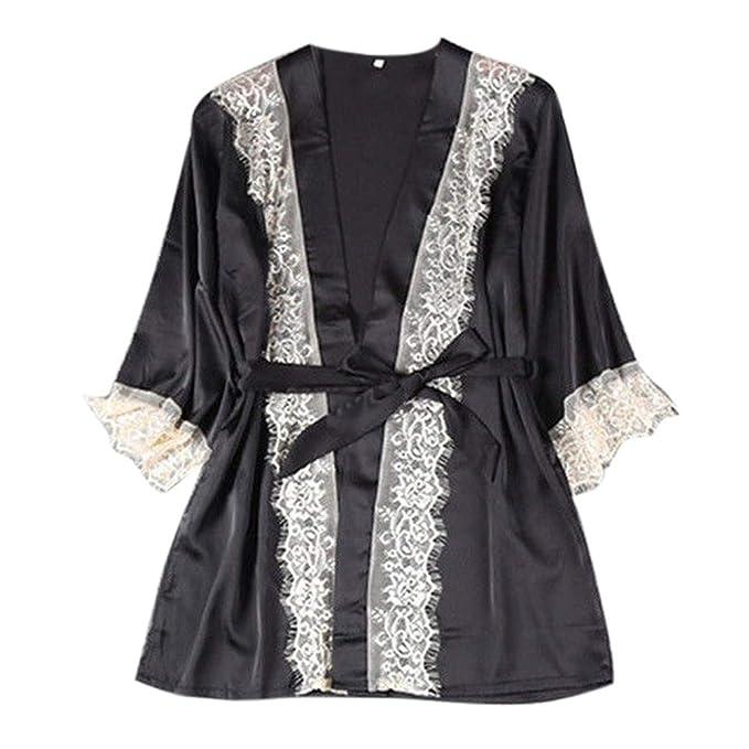 Moda De La Mujer Naturazy Nuevo Kimono De Seda Sexy Vestido CóModo Babydoll Encaje Ropa Interior CamisóN CinturóN Albornoz Albornoz Pijamas: Amazon.es: Ropa ...