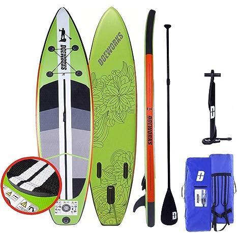 CAMPMORE Stand Up Paddle Board Sup Inflable, inclusivo Paleta de 3 Piezas/Bomba de Aire de Doble Recorrido con Calibre/Bolsa de Transporte/Kit de ...