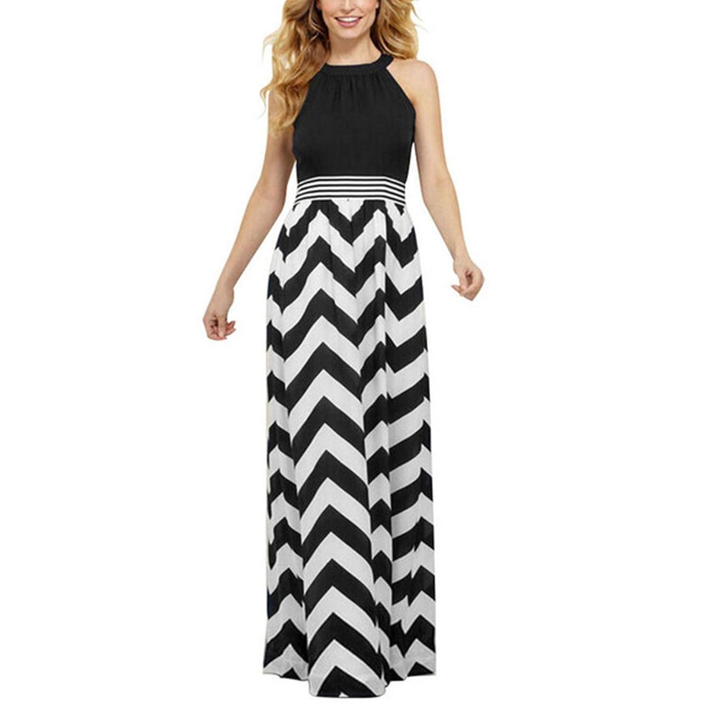 Osta Damen Kleider Maxikleider Halter Shortsleeve Taille Slim fit Wellenförmige Streifen Sommerkleider