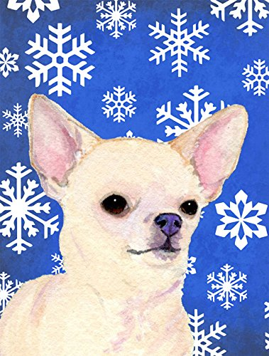 Caroline's Treasures SS4610GF Chihuahua Winter Snowflakes Holiday Flag, Small, Multicolor
