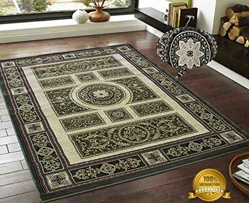 LA Rug Linens Persian Elegance Traditional Tabriz Classic Versace Paisly Design Dark Brown Gold Sepia Beige 8'x10' Area Rug 1.2 Million point Bedroom Livingroom Deco'r - Versace Shades Dark
