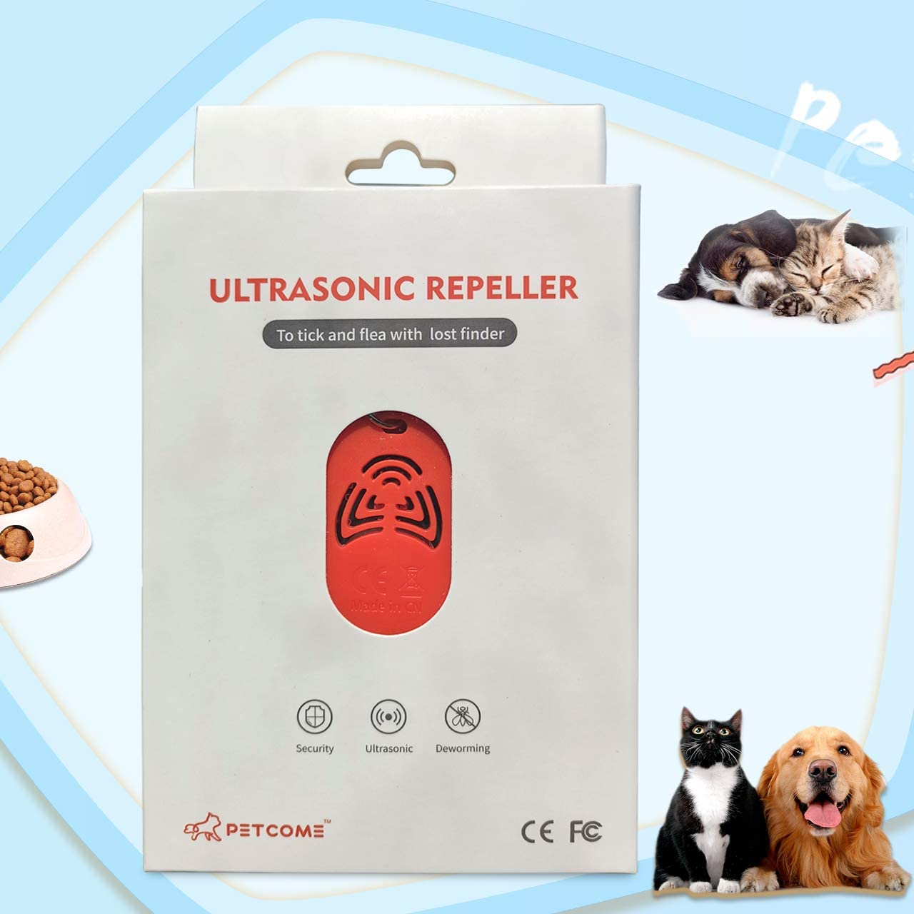 PETCOME Ultrasonic Repeller Collar Tag for Pets with Lost Finder Dog Cat ID Tag with Ultrasonic Function