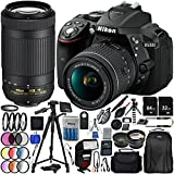 Nikon D5300 with AF-P DX 18-55mm f/3.5-5.6G VR + Nikon AF-P DX 70-300mm f/4.5-6.3G ED VR 25PC Accessory Bundle - Includes 64GB & 32GB SD Memory Card + 72 Tripod + Automatic Flash w/ LED Light + MORE
