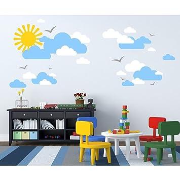 Tilkidünyası Güneş Ve Bulutlar Bebek Ve çocuk Odası Duvar Sticker
