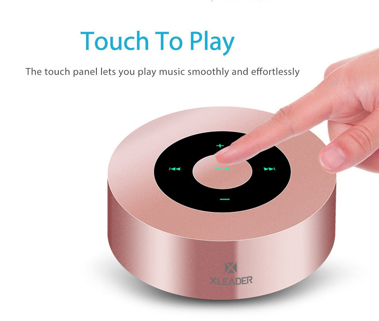 [LED Touch Design] Bluetooth Speaker, XLeader Portable Speaker with HD Sound / 12-Hour Playtime / Bluetooth 4.1 / Micro SD Support, for iphone/ipad/Tablet/Laptop/Echo dot (Rose gold) by XLeader (Image #2)