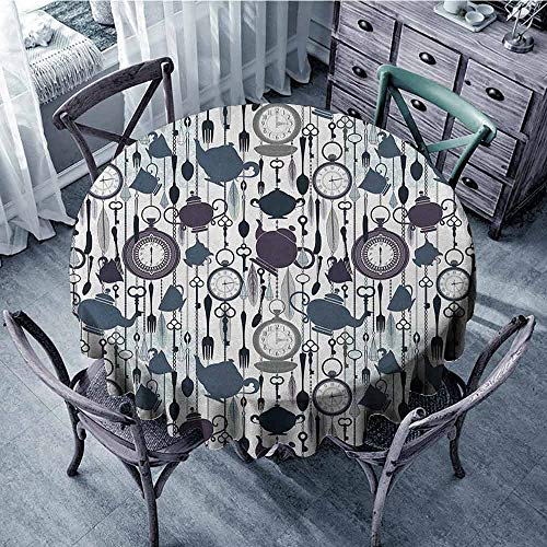 ScottDecor Kids Round Tablecloth Outdoor Picnics Tea Party,Antique Crockery Elements Clocks Feathers English Victorian Tradition, Slate Blue Plum Black Diameter 54