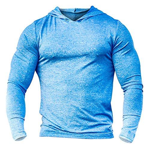 (Slimbt Men's Bodybuilding Tapered Long-Sleeve Slim Fit Sweatshirts Active Hoodies Heather Blue)