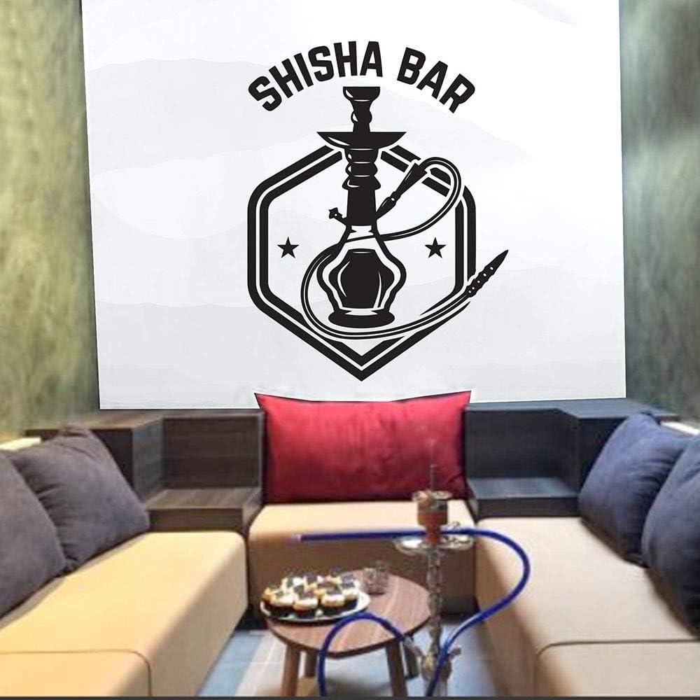 SUPWALS Pegatinas de pared Shisha Bar Pegatinas De Pared Decoraciones De La Casa Sala De Estar Arte Tatuajes De Pared Cachimba Tienda Polígono Papel Tapiz Patrón Extraíble 42X32Cm