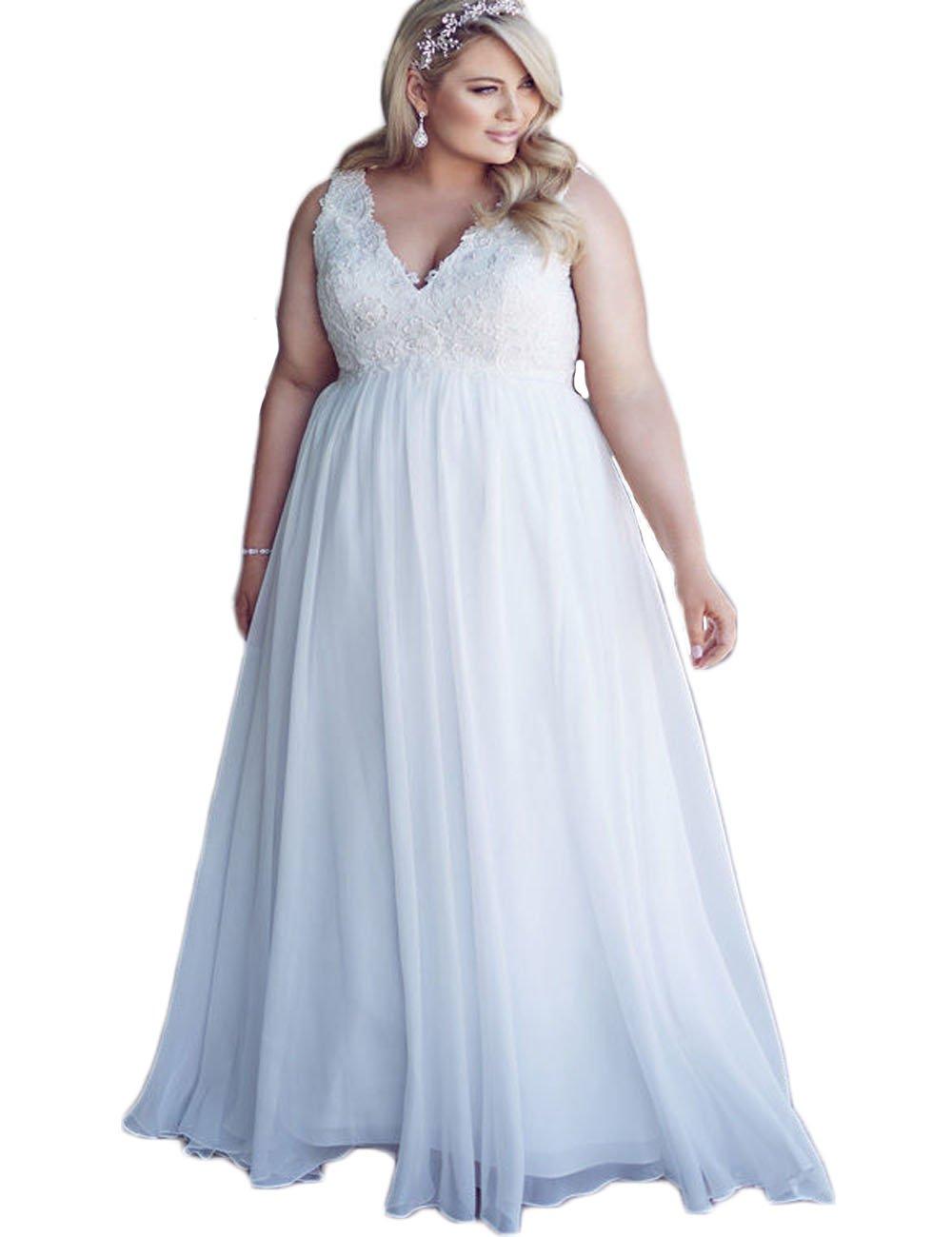 mxgirls Womens Hochzeitskleid plus V-Ausschnitt Brautkleider eine ...