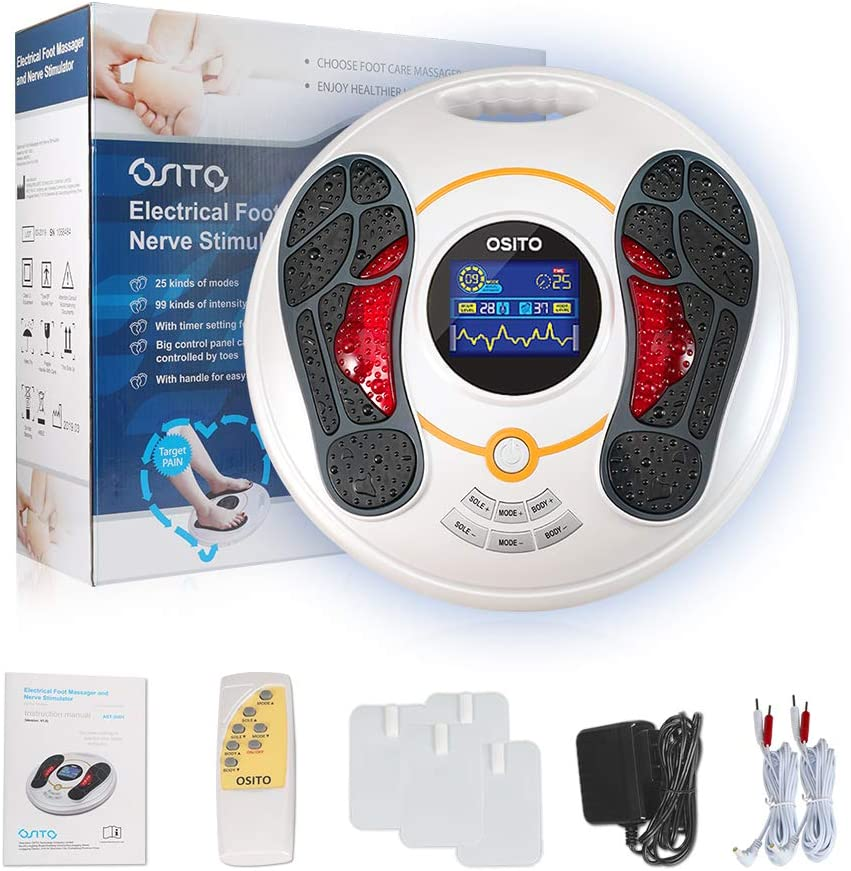 OSITO Circulation System & Nerve Muscle Stimulator - Improves Foot Circulation and Neuropathy, Relieves Feet Legs Pains, Massages and Relaxes Body with TENS Unit & 4 Electrode pads,Clinical-proven Eff