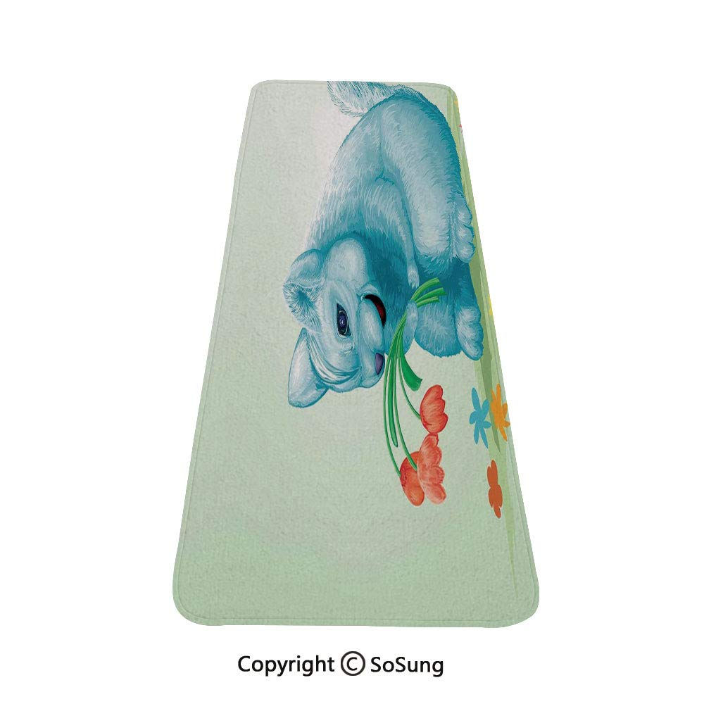 Animal Rug Runner,Dear Blue Mouse with Tulip Bouquet Caricature Hamster Chinchilla Mascot Rodent Toy,for Living Room Bedroom Dining Room,4'x 2',Multicolor by SoSung