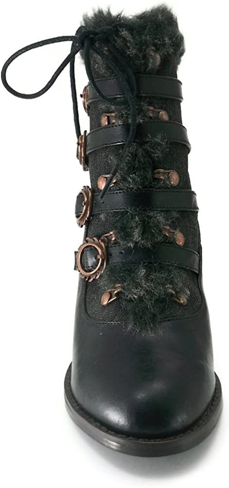 HADES Womens Shoes Steampunk Ankle Boots 2.5 Inch Heel Faux Fur NEPHELE Black-11