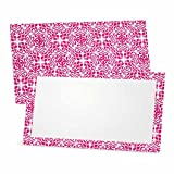 Pink Design Place Cards - Flat or Tent - 10 or 50 Pack - White Blank Front with Pattern Border - Placement Table Name Seating Stationery Party Supplies - Occasion or Dinner Event (50, Flat Style)