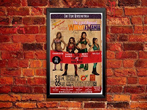 Diva Wrestling Poster - Wrestlemania 33 Featuring Charlotte, Sasha Banks, Becky Lynch, Bayley - Fantasy Fan Poster