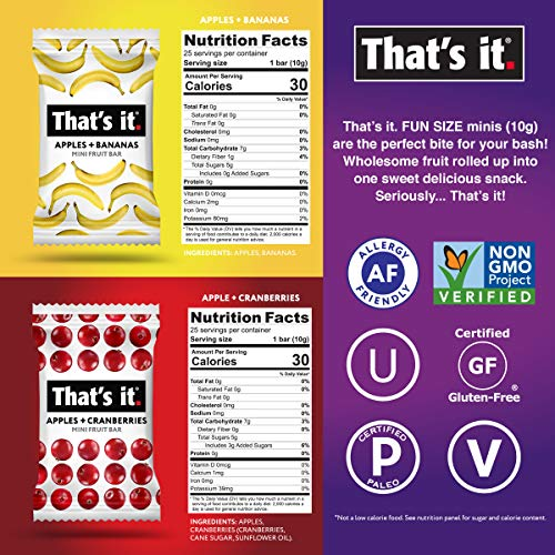 That's It. Fun Size Mini Fruit Bars Variety Pack(50 Pieces, 10g Each) With Apples + Bananas, Apples + Cranberries, Non-GMO, Paleo and Kosher Friendly, Gluten Free Breakfast Snacks