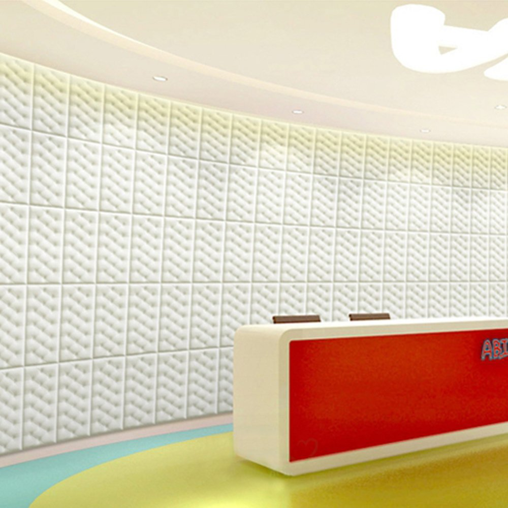 yazi 10Pcs Peel and Stick Wall Tile 3d Foam Wall Panels for Home Office Wall Decor 23.6''x11.8''x0.71'' White