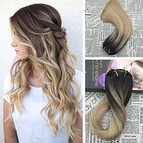 Moresoo Clip in Hair Extensions 14 inch Balayage Colored Hair #2 Fading to #27 and #613 Blonde Clip in Human Hair Extenions Full Head 120 Grams Double Wefted Clip on Hair Extensions Human Hair