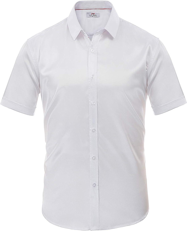Camisa de Hombre Soft Satin Manga Corta Botones cómodos Tamaño clásico L Blanco