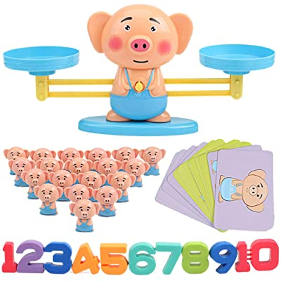 Toyvian Balance Scale Toy Pig Shape Montessori Early Educational Toys with Numbers for Kids Baby Toddlers: Toys & Games