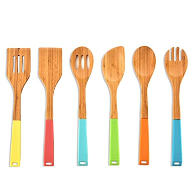 Ikebana Colorful Silicone Handle Bamboo Spoons Non-Stick Kitchen Cooking Utensil Set,6-Piece Utensils for Kitchen with Silicone Handles in Red Yellow Green Orange Blue,Real Natural Wooden Spoon