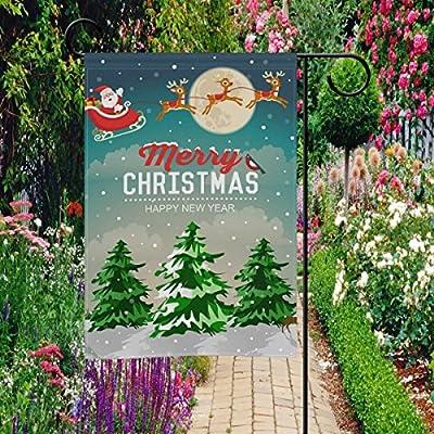 coosun nieve Navidad escena de Papá Noel en trineo con renos poliéster bandera de Jardín al aire libre jardín bandera casa fiesta Decor, doble cara, 28