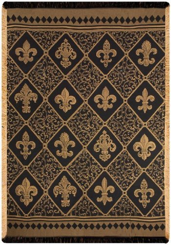 Manual Damask Throw, Fleur De Lis, Gold, 50 by 60-Inch