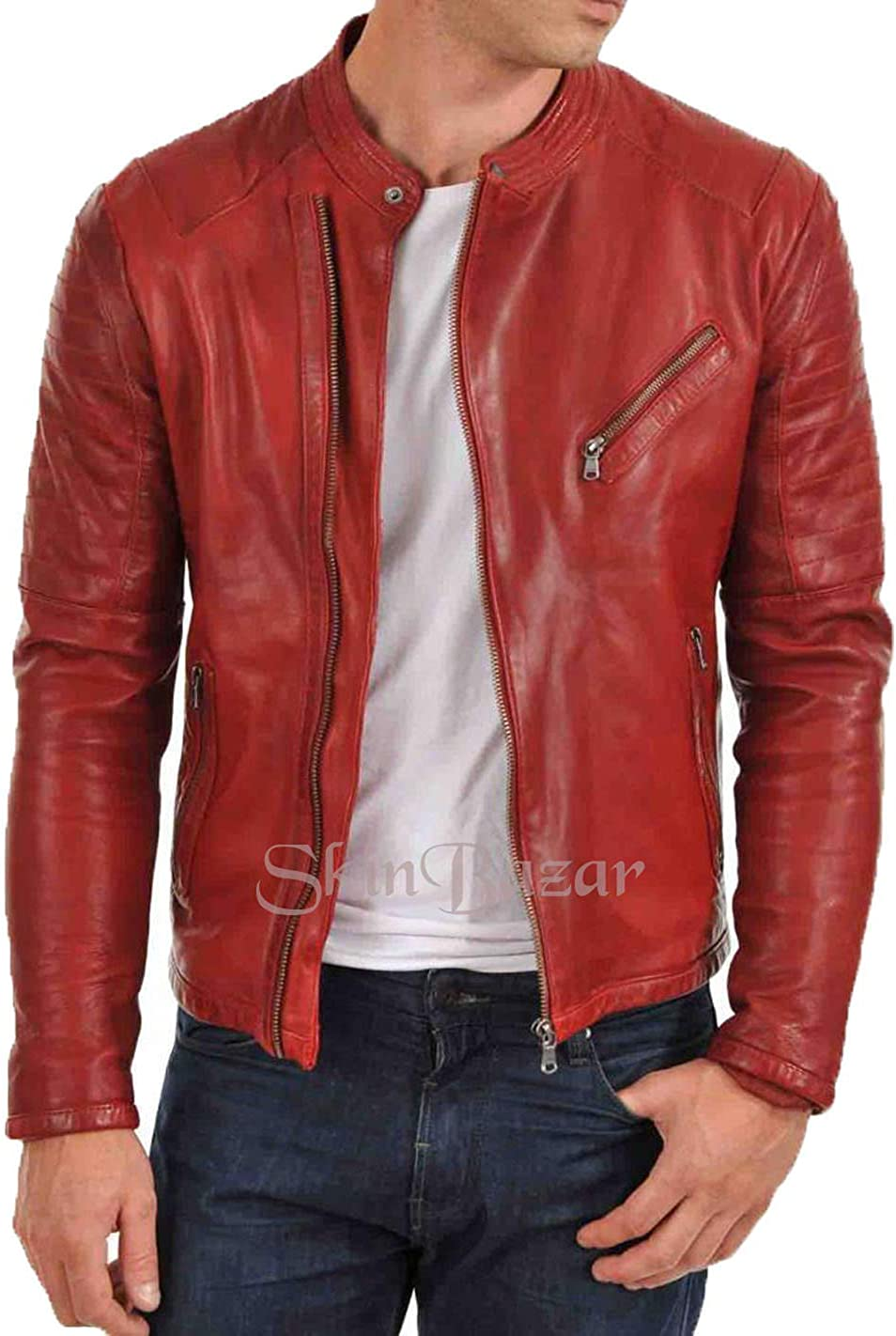 Mens Stylish Motorcycle Biker Genuine Lambskin Leather Jacket 17