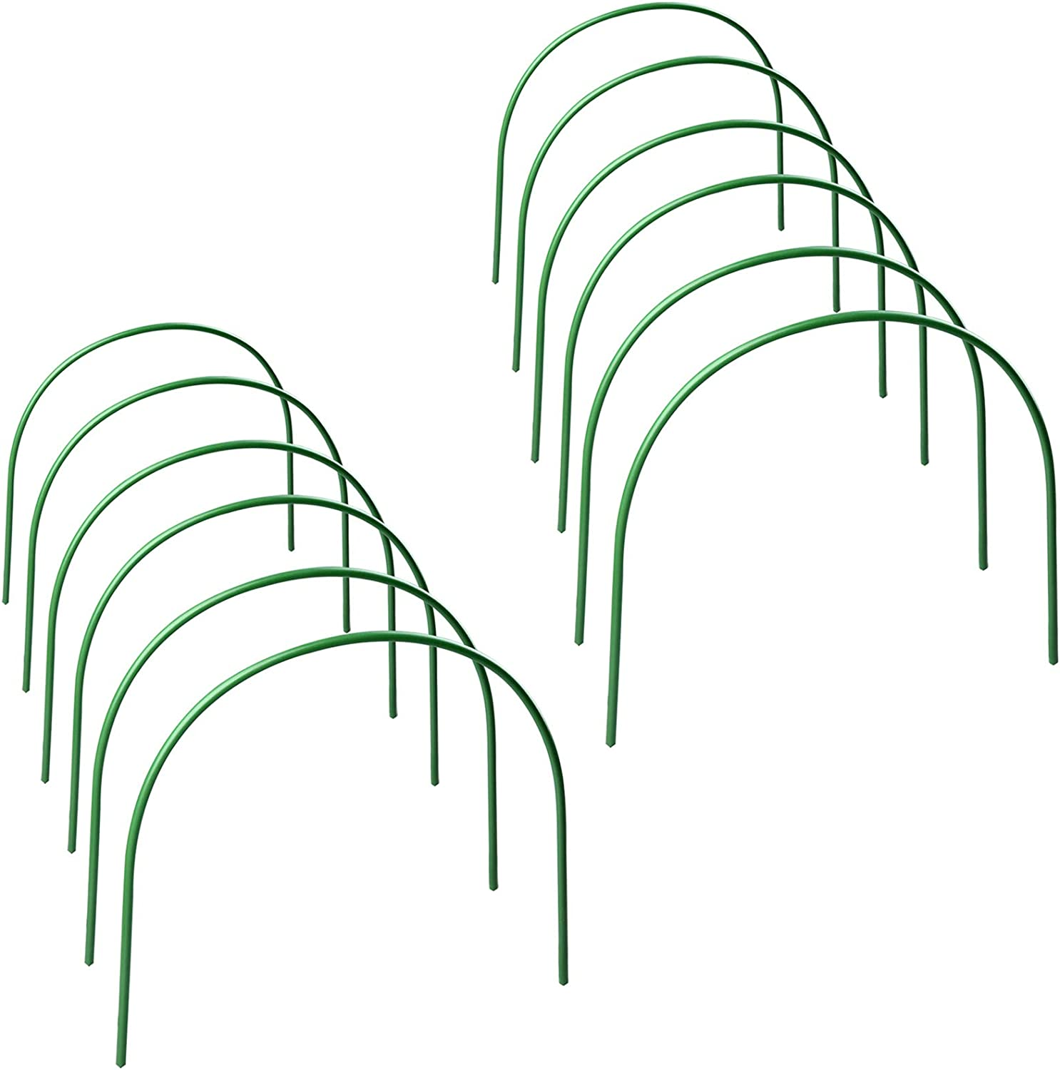 INIFLM 12-Pack Greenhouse Support Hoops, Rust-Free 4ft Long Steel with Plastic Coated Hoops Garden Grow Tunnel Garden Support Hoops