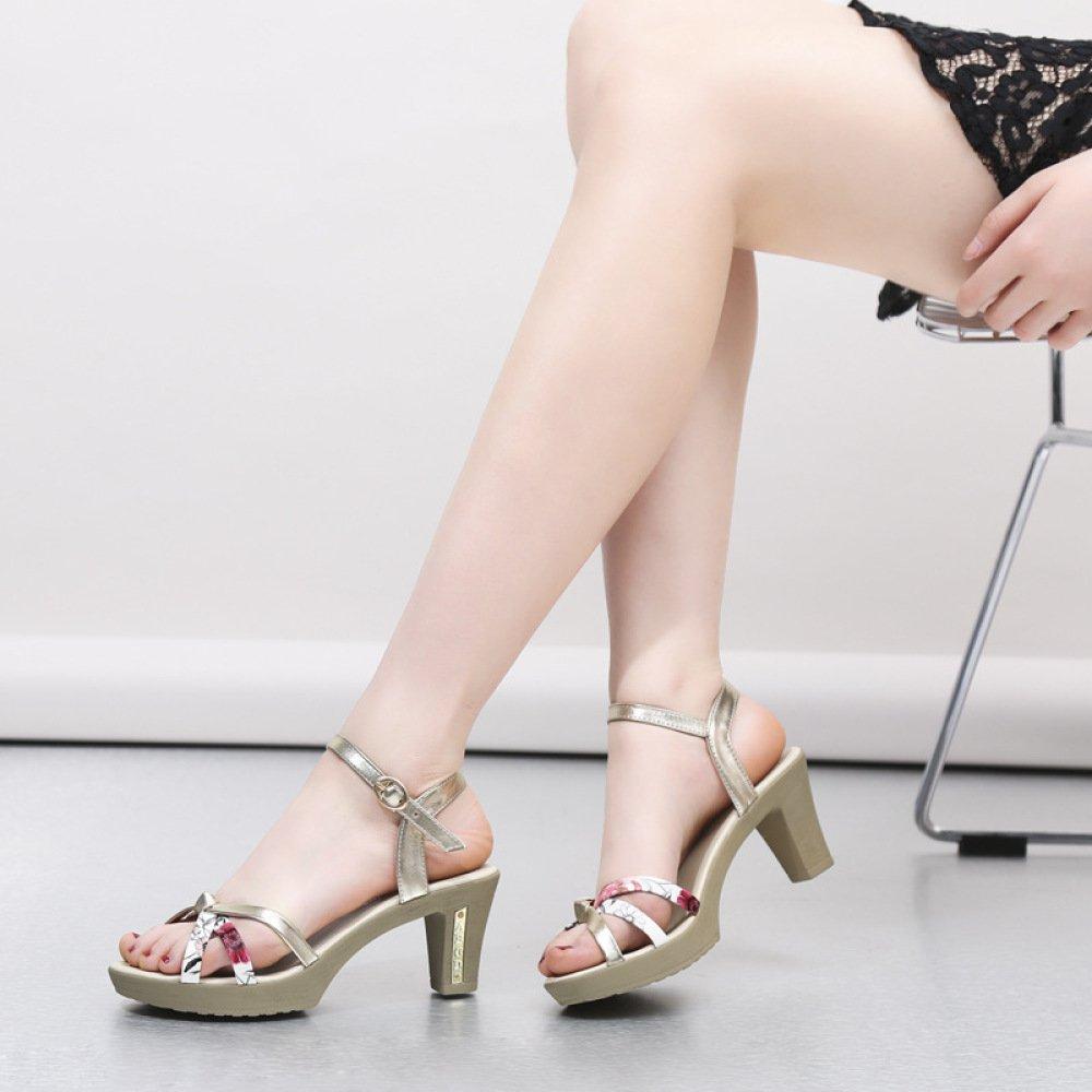 TT High-heeled Sandalen weiblichen gebrochenen Sommer süße gebrochenen weiblichen Blaumen Schuhe hochhackige einfache wasserdichte Plattform große Damenschuhe 7cf15e