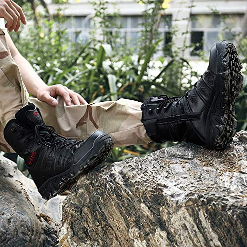 6596789c20f Dreamyth Men Hiking Boots Casual Lace-up Sport Army Tactical Boots Desert  Leather Boots Combat Shoes (Black PU, US:6.5)