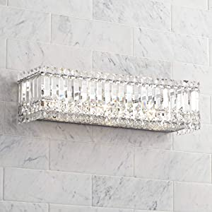 Modern Wall Mount Light Chrome Silver Cut Crystal Accents 23