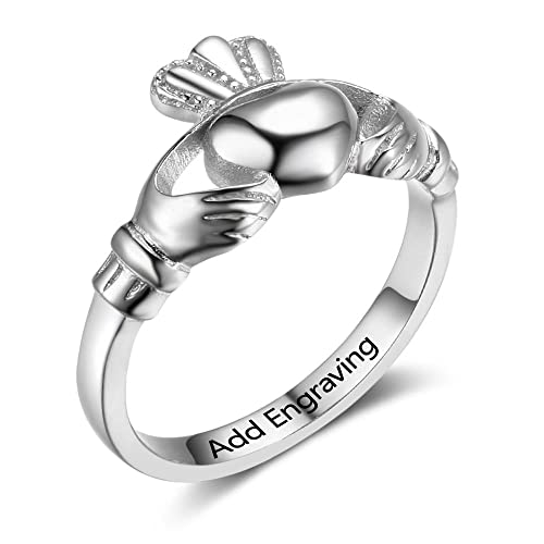 Claddagh amistad anillo de promesa para ella personalizada ...