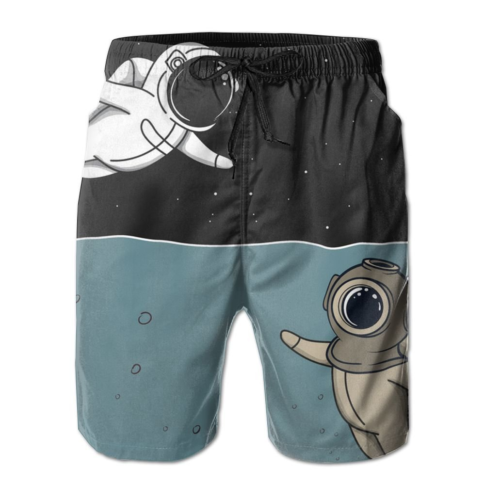 Yausend Mens Diver and Astronaut Breathable Beach Board Shorts Swim Trunks Quick Dry