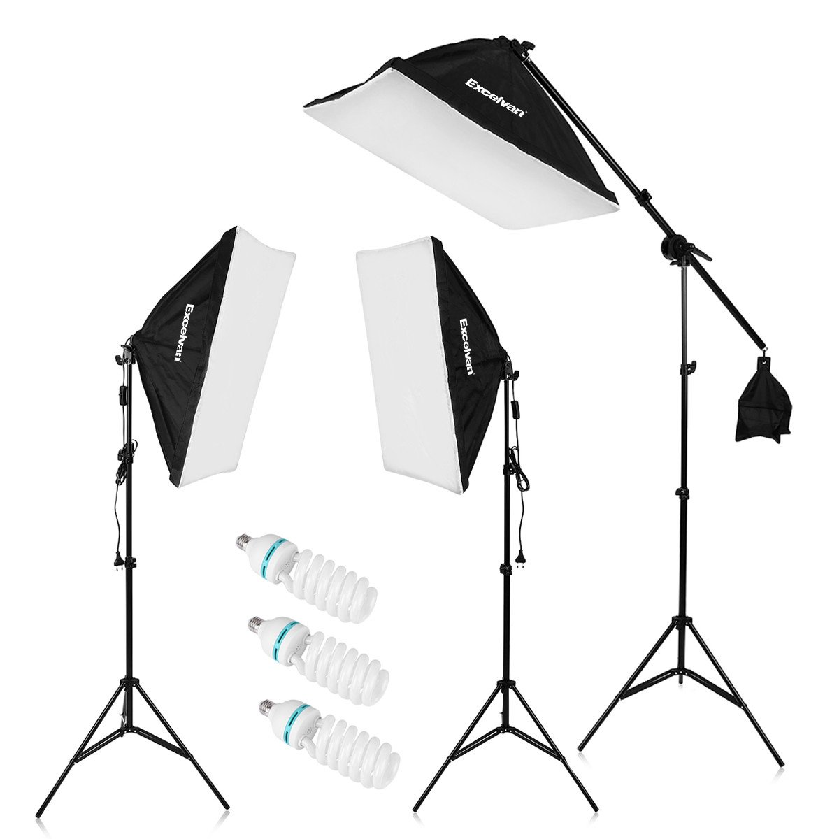 "Excelvan 2000W Photography Studio LED Lighting Kit 20x25"" Auto Pop-up Soft Box with 80"" Light Stand and 135W LED Lamp, SHOX-012"