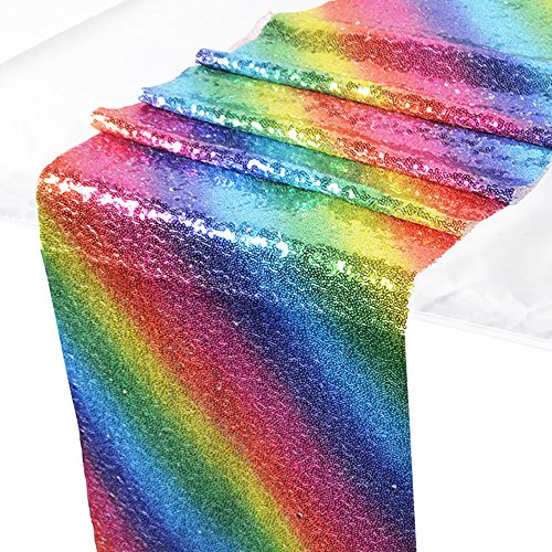 Wazonton Rainbow Table Runners, Sequin Sewing Tablecloth Cover Glitter Table Flag, Idea Decoration for Wedding, Birthday, Baby Shower, Graduation, Party, Festival Event (30x180cm)]()