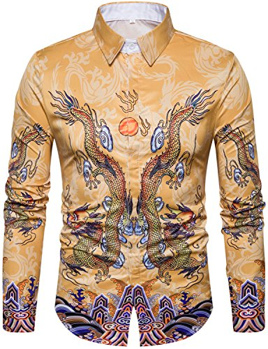 WHATLEES Mens Luxury Ancient Chinese Dragon Printed Long Sleeve Slim Fit Casual Button Down Dress Shirts Tops T08-T4426-X-Large