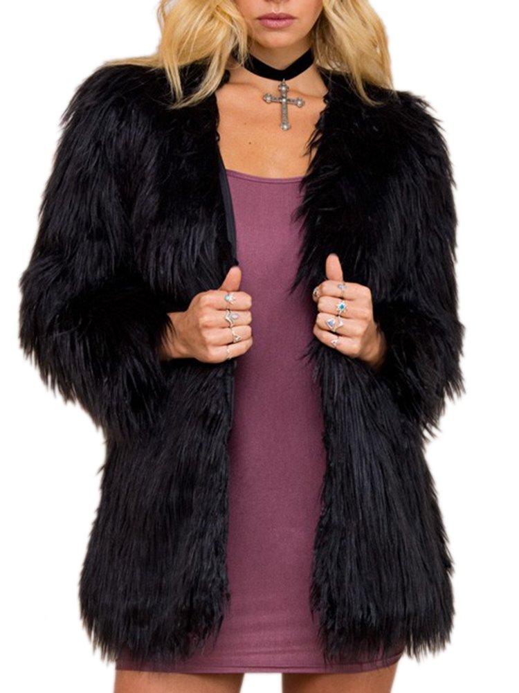 Simplee Apparel Women's Long Sleeve Fluffy Faux Fur Warm Coat,Black,Size : Asian XXXL,US 12