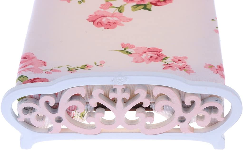 1:12 Scale Dollhouse Miniature European Retro Wooden Double Bed Pink