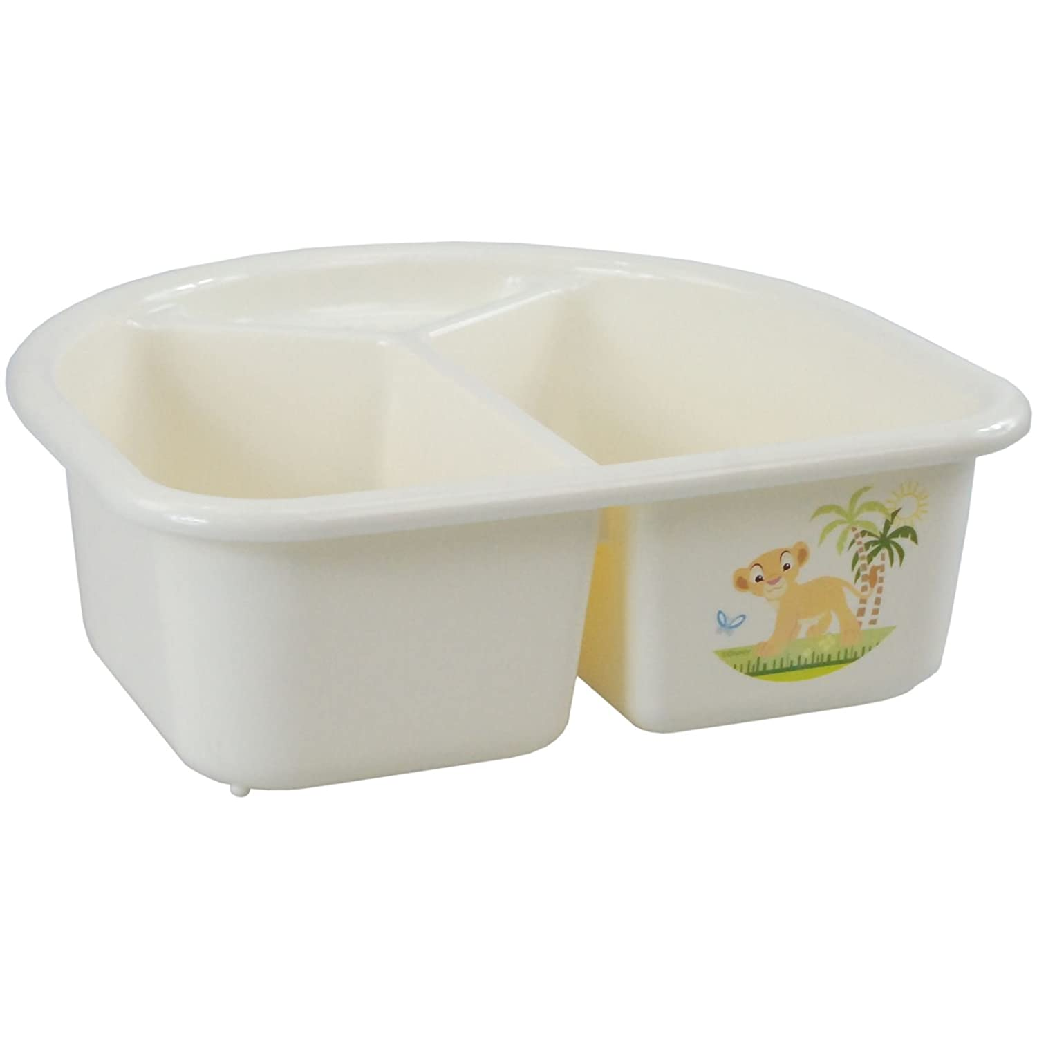 CrazyGadget® Rotho Top & Tail Wash Bowl Baby Design Nursery Simba The Lion 2 Compartments Soap Holder Cream Made in Germany
