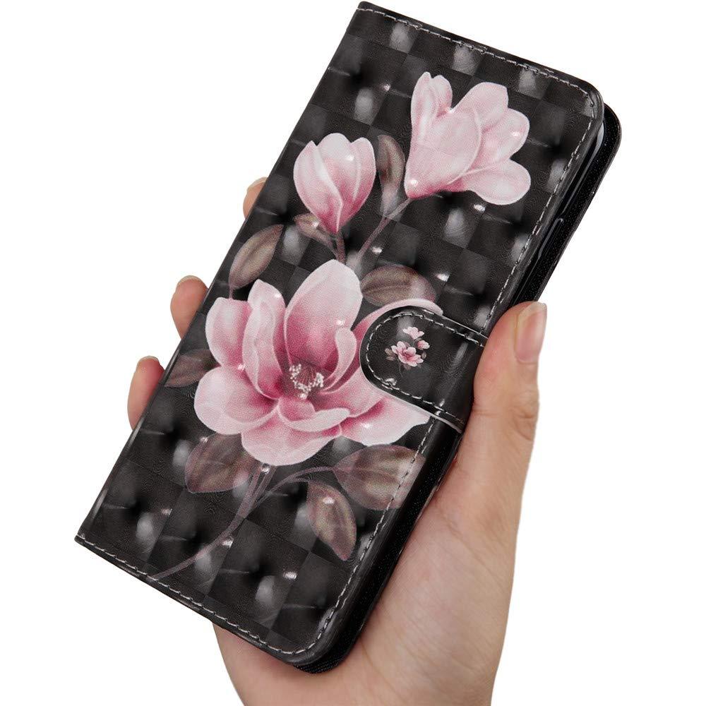 COTDINFOR pour Nokia 3.2 Coque Portefeuille Effet 3D Peint en Premium PU Cuir Rabat Magn/étique Cover FILP Stand Shell Bumper Housse pour Nokia 3.2 Pink Flower Black BX.