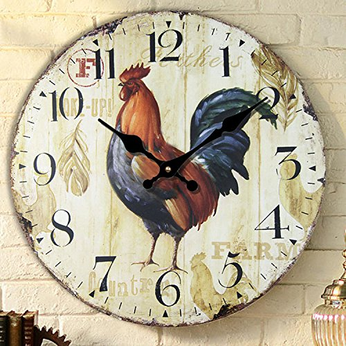 Creative Office silent clock watches fashion Rooster wall clock the living room wall charts simple pastoral creative clock table diameter 34/40/50/60cm,A,16 inch