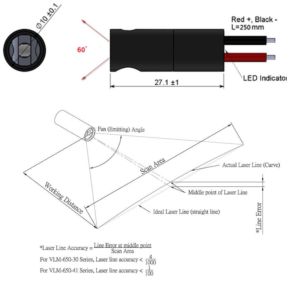 Quarton Industrial 3D-Scanner Line Laser Module VLM-650-30 LPT10-D60 (Best Laser Line Accuracy 40'', Fan Angle : 60°)
