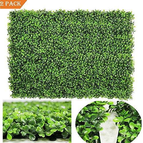 GreenDec 2pack Artificial Boxwood Hedge Panels,UV Protected Faux Greenery Fence Panels Mats for Privacy Fence Patio,Greenery Walls Indoor Outdoor Decor,16