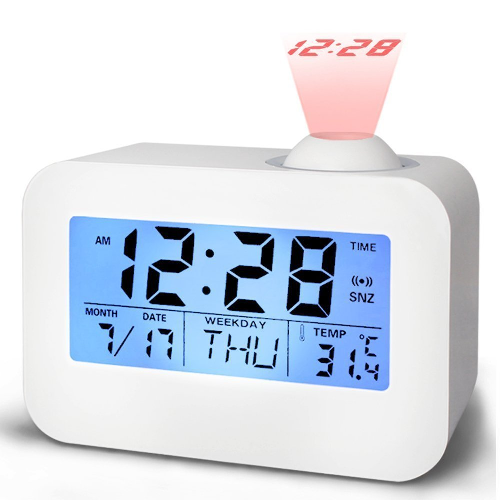 Projection Alarm Clock, WONFAST Portable Voice Control Digital Bedside Desktop Wake up Alarm Clock with LED Backlight Snooze Function Time/Temperature/Day/Date Display for Office Home Travel