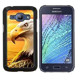 KLONGSHOP // Cubierta de piel con cierre a presión Shell trasero duro de goma Protección Caso - Águila Royal Flying desierto Pájaro Magnífico - Samsung Galaxy J1 J100 //