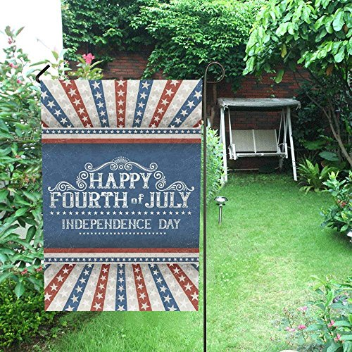 Pretty Lee Decorative Flag Happy 4th of July Independence Day with Stars Garden Flag House Banner Double Sided 28 x 40 inch Flg for Wishing Party Wedding Yard 100% Polyester Home Decor