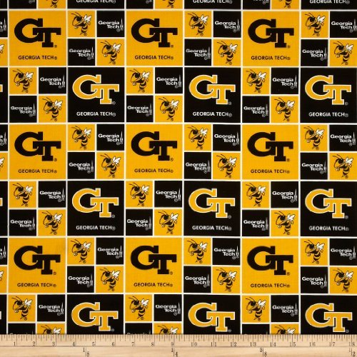 (Sykel Enterprises 0322923 Collegiate Cotton Broadcloth Georgia Tech Fabric by The Yard )